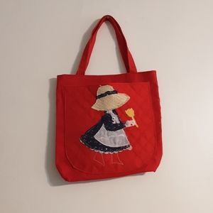 1970's red canvas Holly Hobby totebag